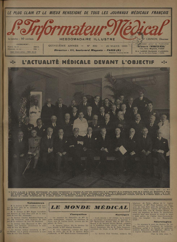 Le 12 mars, a eu lieu à l'Institut Alfred-Fournier, une séance commémorative à l'occasion du trentiè [...] -  - med100129x1936x0117