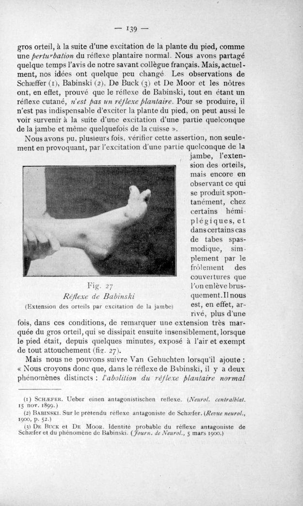 Fig. 27. Réflexe de Babinski (Extension des orteils par excitation de la jambe) - Congrès des médeci [...] -  - med110817x1901x0148