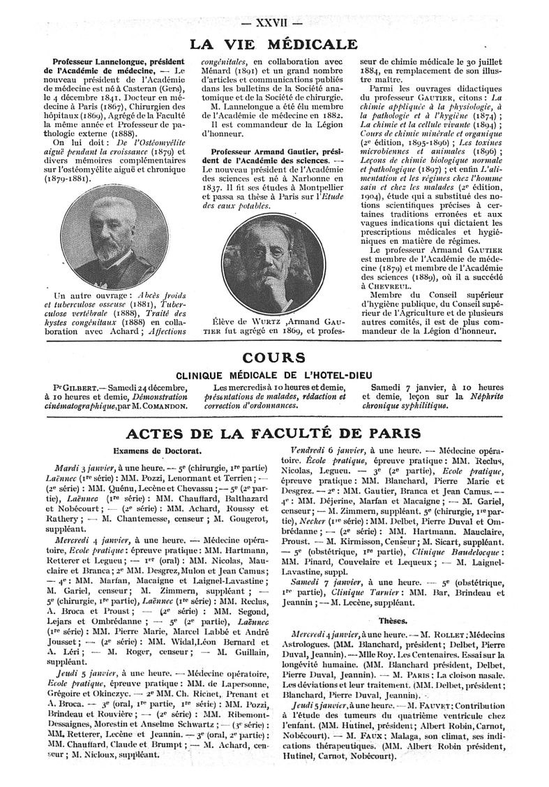 La vie médicale. Professeur Lannelongue / Professeur Armand Gautier - Paris médical : la semaine du  [...] -  - med111502x1911x02x0115