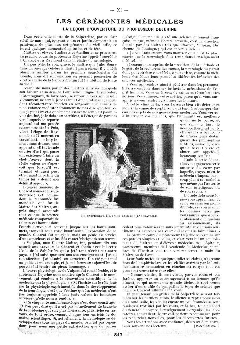 Le Professeur Dejerine dans son laboratoire - Paris médical : la semaine du clinicien -  - med111502x1911x02x0517