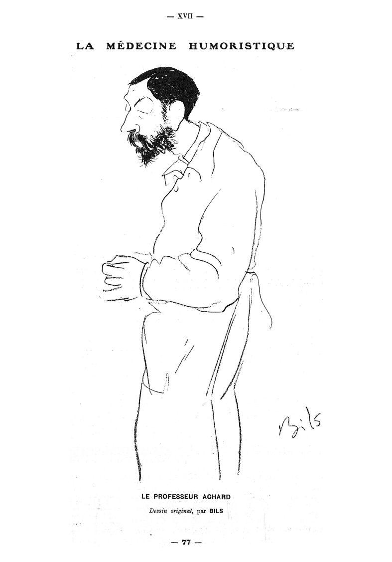 Le Professeur Achard. Dessin original, par Bils -  - med111502x1911x04x0079