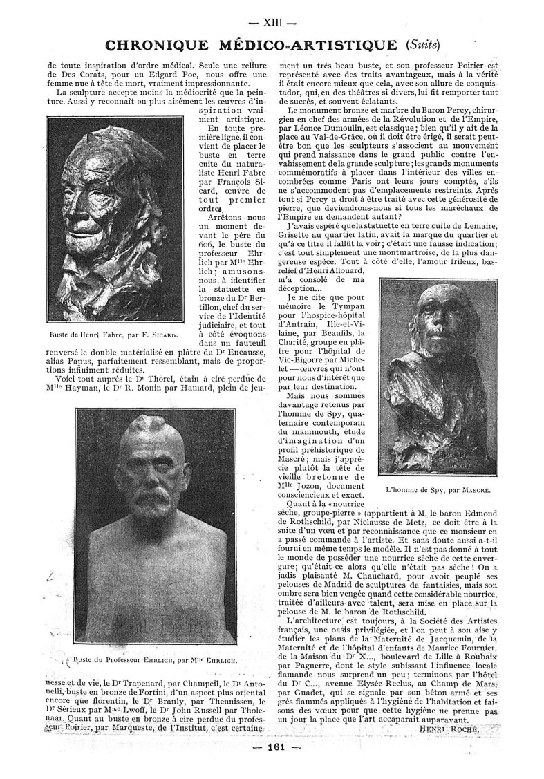 Buste de Henri Fabre, par F. Sicard / Buste du Professeur Ehrlich, par Mlle Ehrlich / L'homme de Spy [...] -  - med111502x1911x04x0163