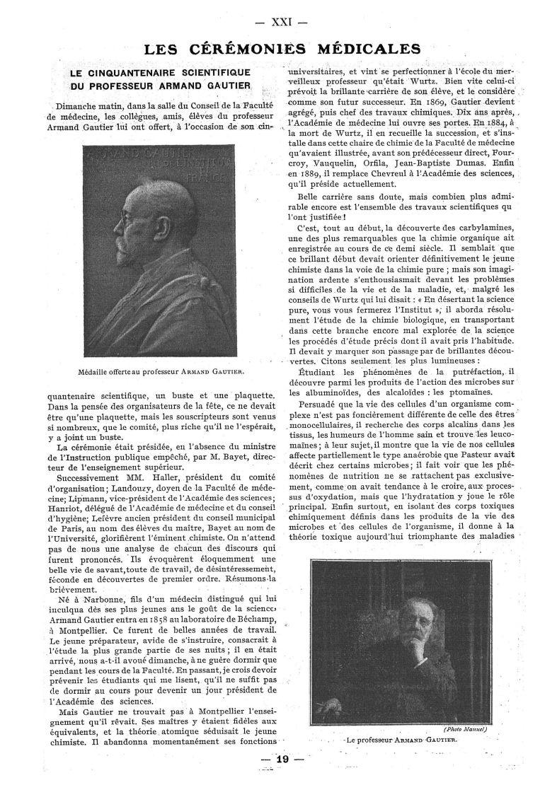 Médaille offerte au Professeur Armand Gautier / Le Professeur Armand Gautier - Paris médical : la se [...] -  - med111502x1912x06x0025