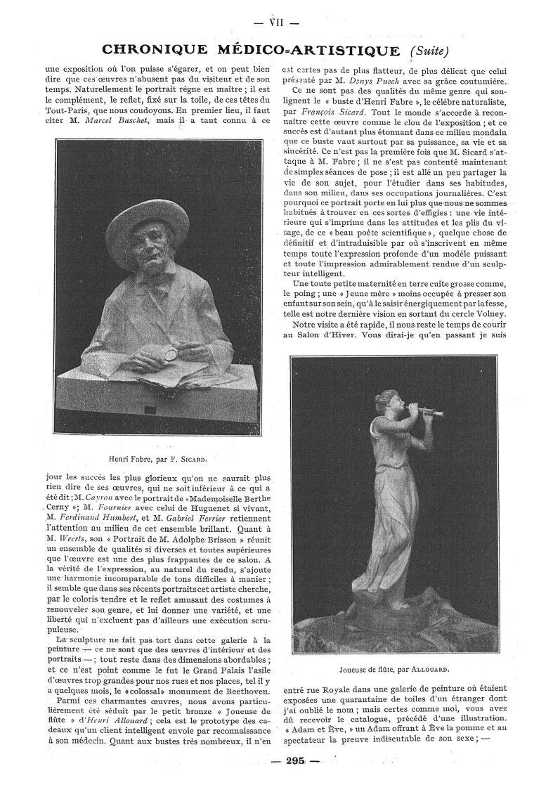 Henri Fabre, par F. Sicard / Joueuse de flûte, par Allouard - Paris médical : la semaine du clinicie [...] -  - med111502x1912x06x0373