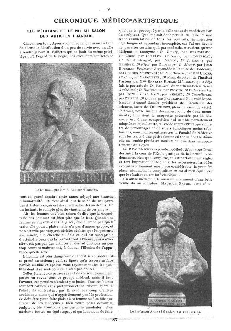 Le Dr Roux, par Mme E. Robert-Mérignac / Le Professeur Armand Gautier, par Theunissen - Paris médica [...] -  - med111502x1912x08x0105