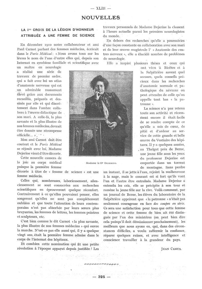 Madame le Dr Dejerine - Paris médical : la semaine du clinicien -  - med111502x1913x10x0371