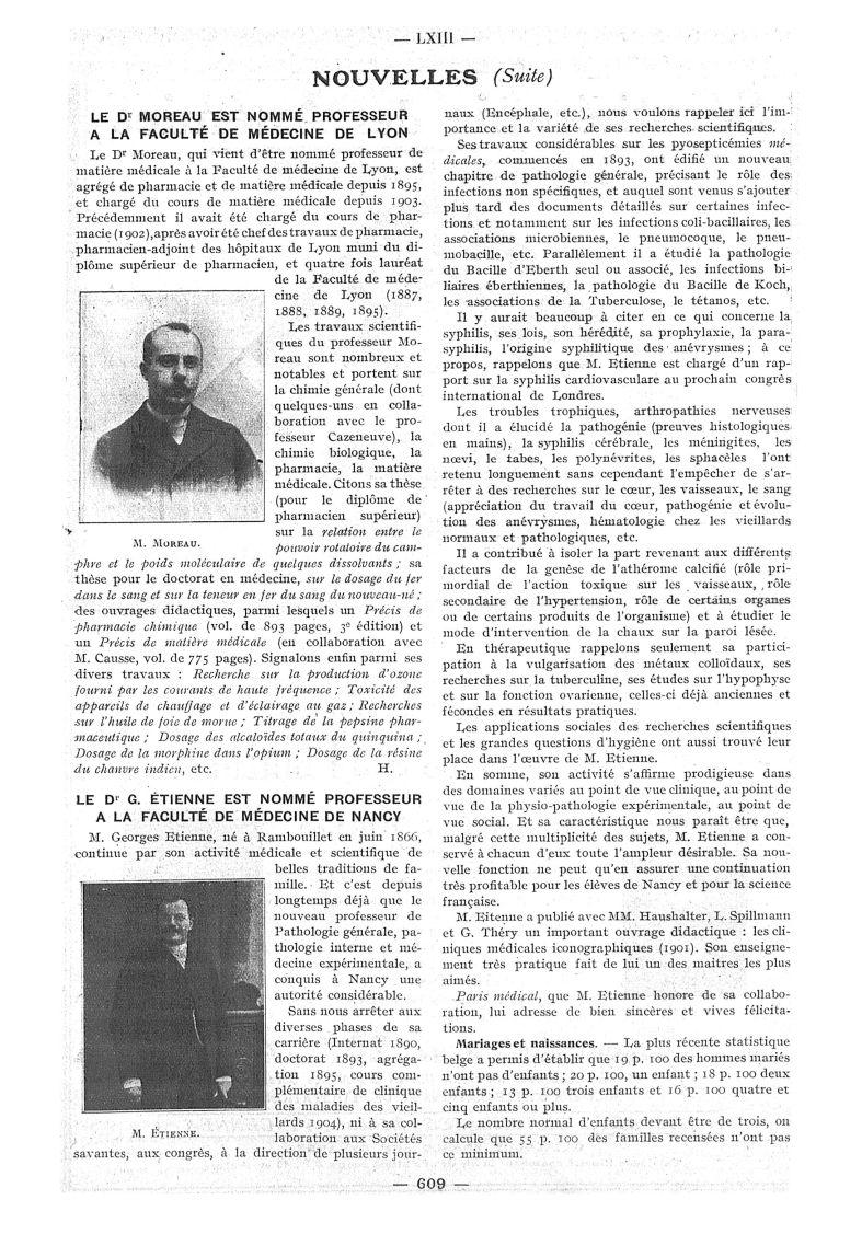 M. Moreau / M. Étienne - Paris médical : la semaine du clinicien -  - med111502x1913x10x0689