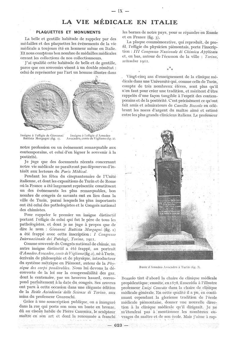 Fig. 1. - Insigne à l'effigie de Giovanni Battista Morgagni / Fig. 2. - Insigne à l'effigie d'Amedeo Avocadro, conte de Vigliano / Fig. 3. - Buste d'Amedeo Avocadro à Turin -  - med111502x1913x10x0707