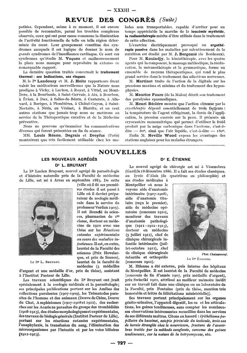 Le Dr L. Bruyant / Le Dr Étienne - Paris médical : la semaine du clinicien -  - med111502x1913x12x0837