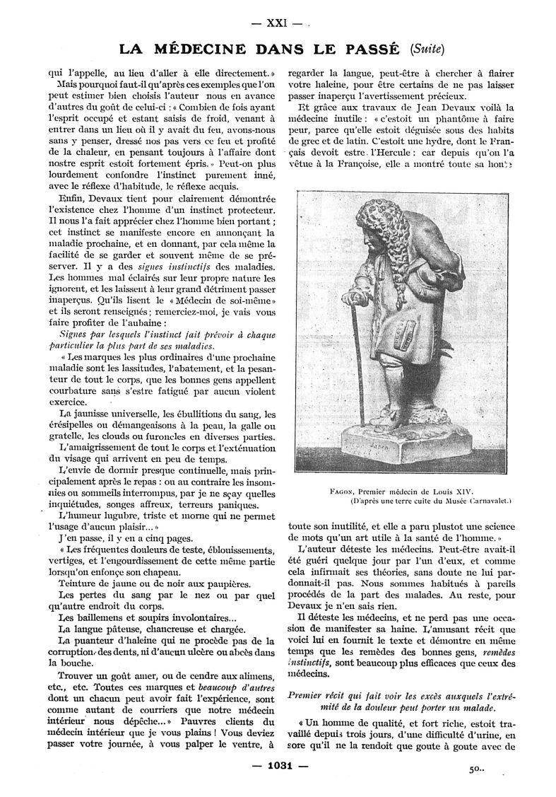 Fagon. (D'après une terre cuite du Musée Carnavalet) - Paris médical : la semaine du clinicien -  - med111502x1913x12x1181