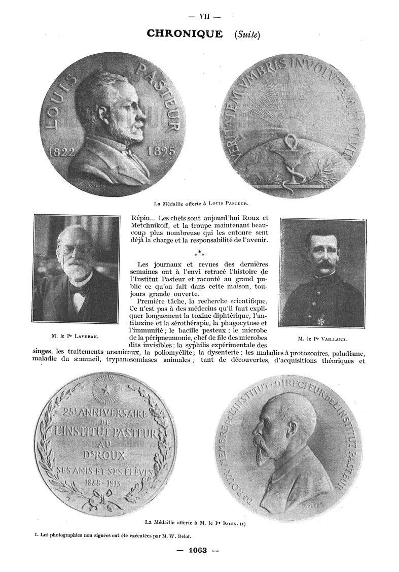 La médaille offerte à Louis Pasteur / M. le Pr Laveran / M. le Pr Vaillard / La Médaille offerte à M [...] -  - med111502x1913x12x1219