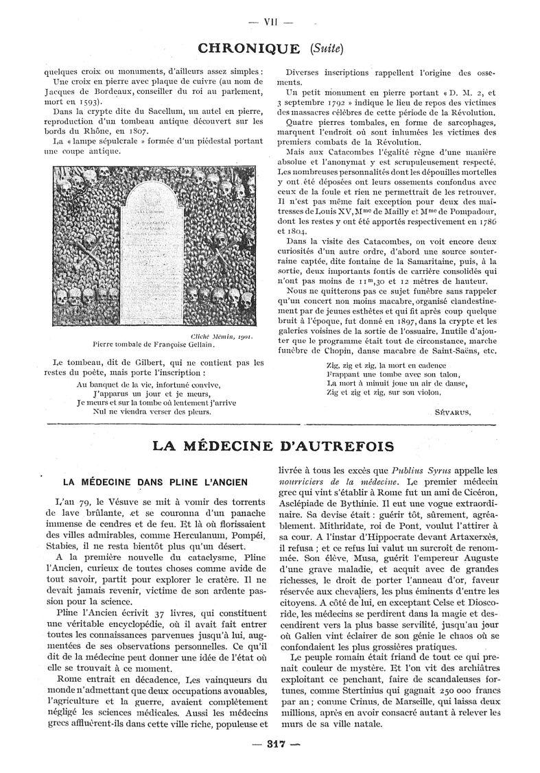 Pierre tombale de Françoise Gellain - Paris médical : la semaine du clinicien -  - med111502x1914_1915x16x0343