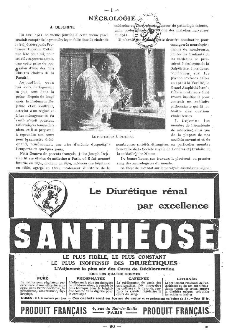Le Professeur J. Dejerine - Paris médical : la semaine du clinicien -  - med111502x1917x24x0133