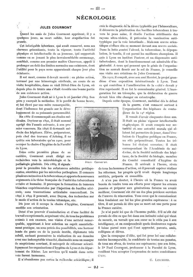 Jules Courmont - Paris médical : la semaine du clinicien -  - med111502x1917x24x0136
