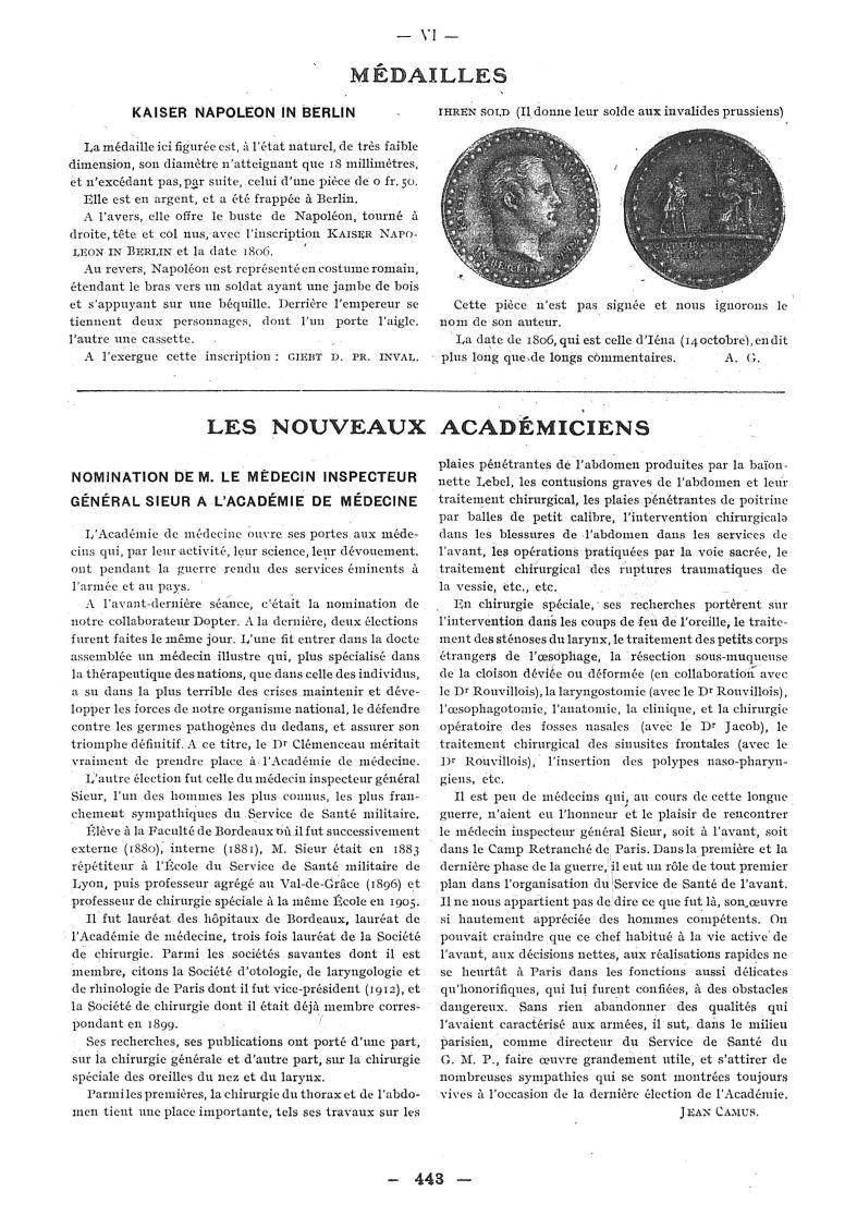 [Médaille de Napoléon] - Paris médical : la semaine du clinicien -  - med111502x1918x30x0174