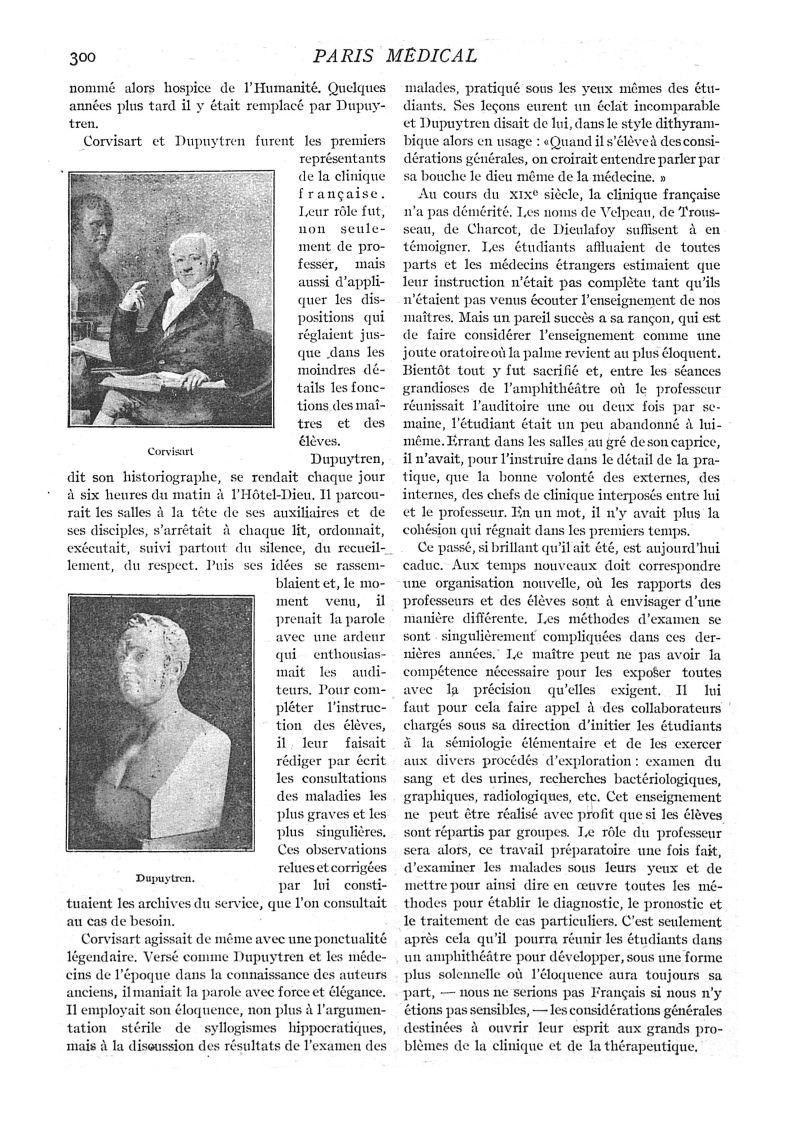 Corvisart / Dupuytren - Paris médical : la semaine du clinicien -  - med111502x1919x31x0316
