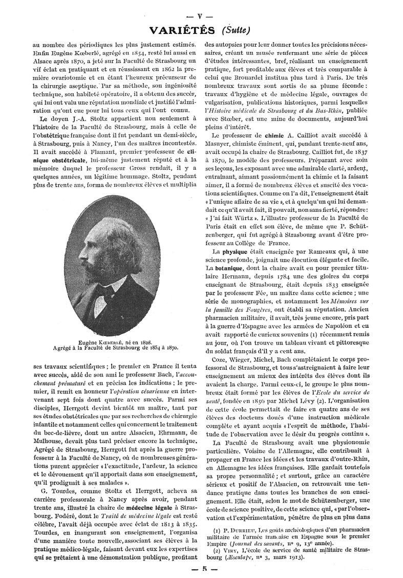Eugène Koeberlé, né en 1828 - Paris médical : la semaine du clinicien -  - med111502x1919x32x0015