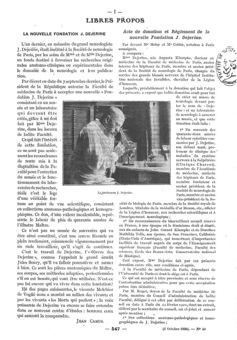 Le Professeur J. Dejerine - Paris médical : la semaine du clinicien -  - med111502x1920x38x0199