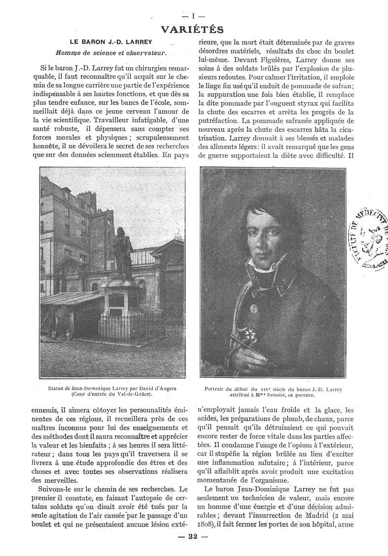 Statue de Jean-Dominique Larrey par David d'Angers (Cour d'entrée du Val-de-Grâce) / Portrait du déb [...] -  - med111502x1921x40x0055