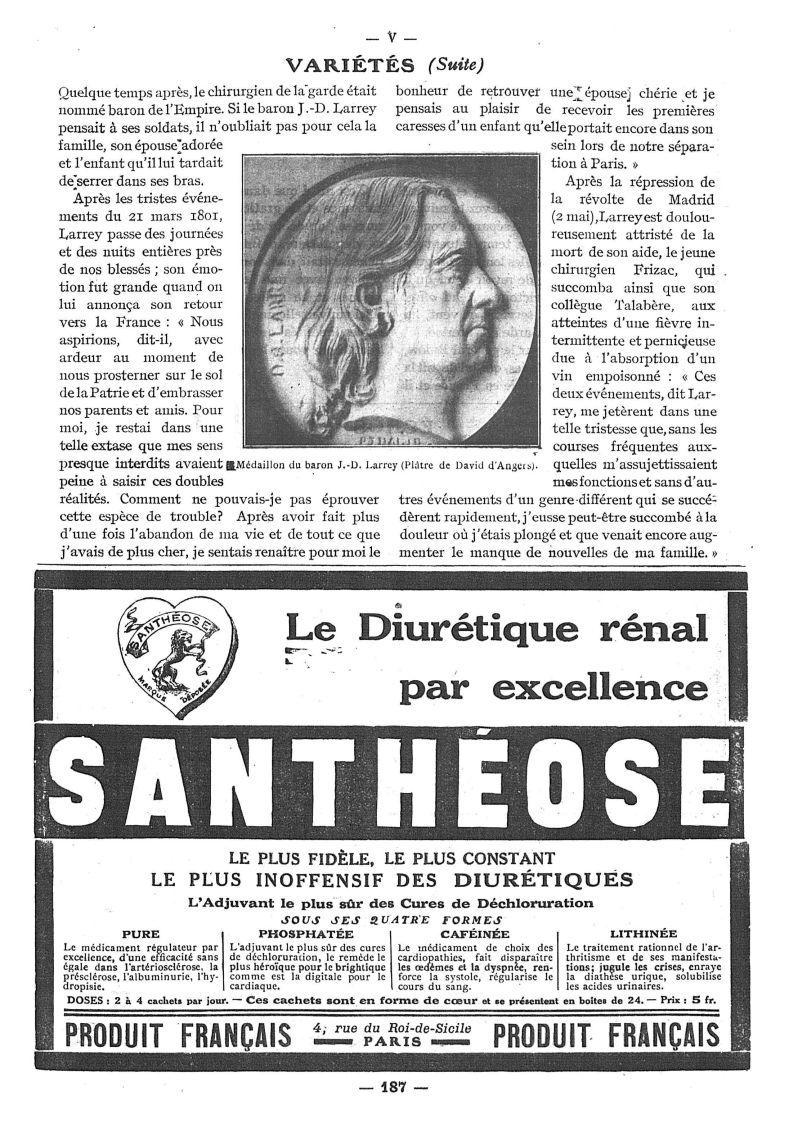 Médaillon du baron J.-D. Larrey (Plâtre de David d'Angers) - Paris médical : la semaine du clinicien -  - med111502x1921x40x0335