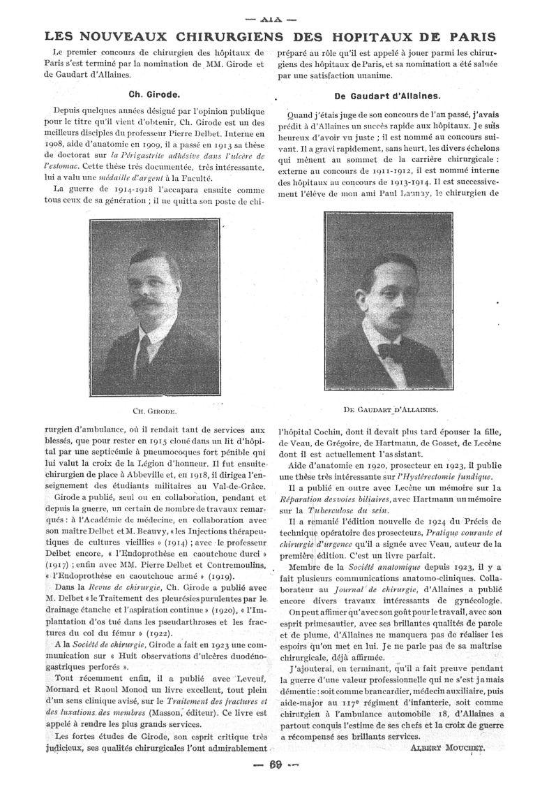 Ch. Girode / De Gaudart d'Allaines - Paris médical : la semaine du clinicien -  - med111502x1925x58x0096
