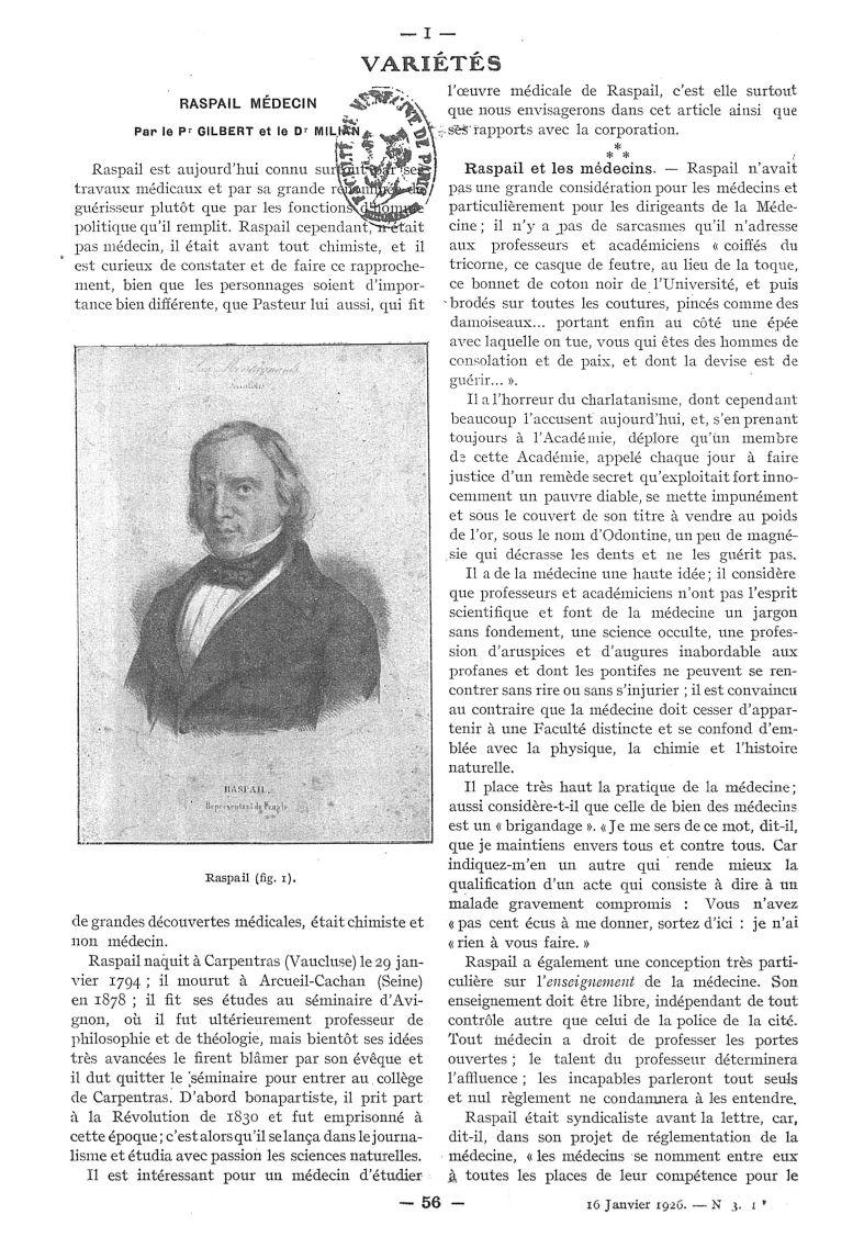 Fig. 1. - Raspail - Paris médical : la semaine du clinicien -  - med111502x1926x60x0105