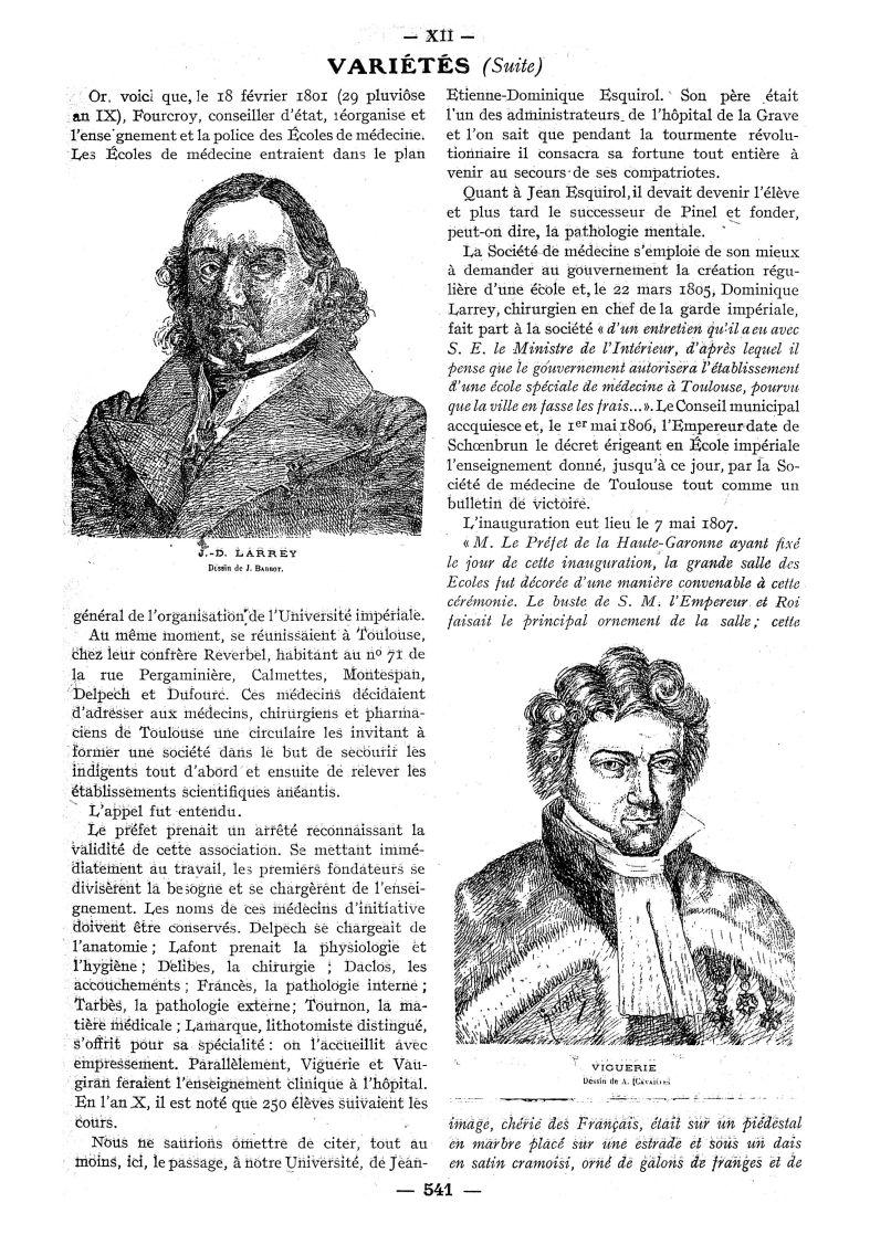 J.-D. Larrey. Dessin de J. Barbot / Viguerie. Dessin de A. (Cavailles) - Paris médical : la semaine  [...] -  - med111502x1929x72x0668