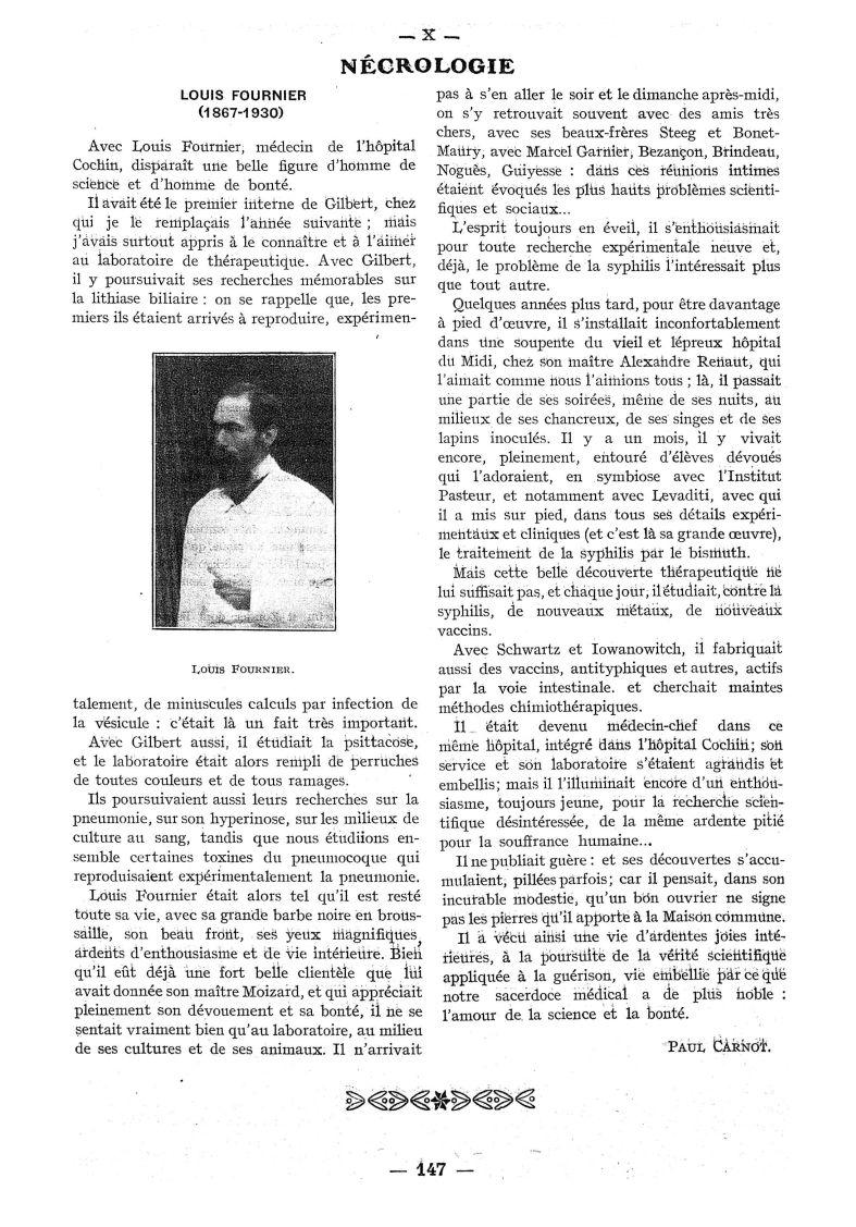 Louis Fournier - Paris médical : la semaine du clinicien - Médecins. France. 19e siècle. 20e siècle - med111502x1930x76x0241