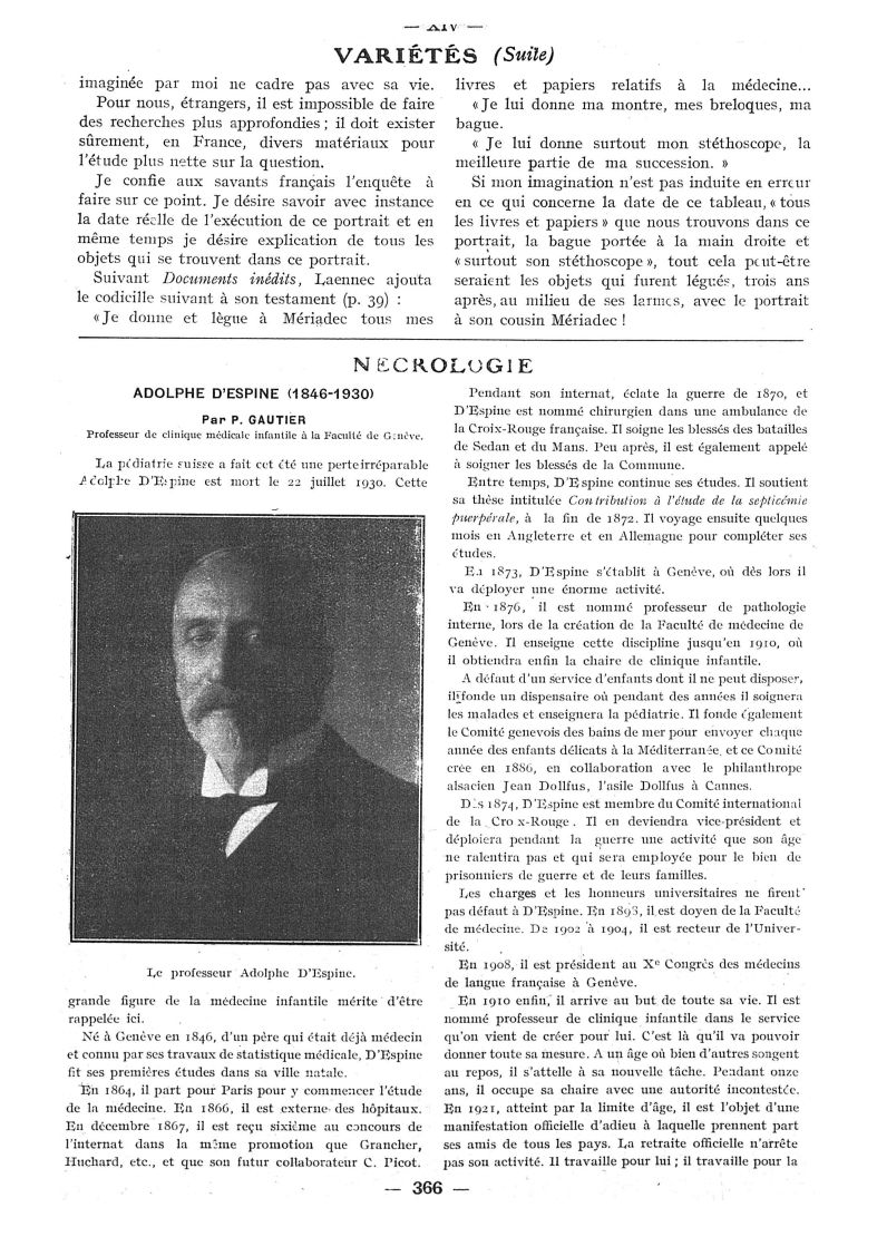 Le Professeur Adolphe d'Espine - Paris médical : la semaine du clinicien -  - med111502x1930x78x0422