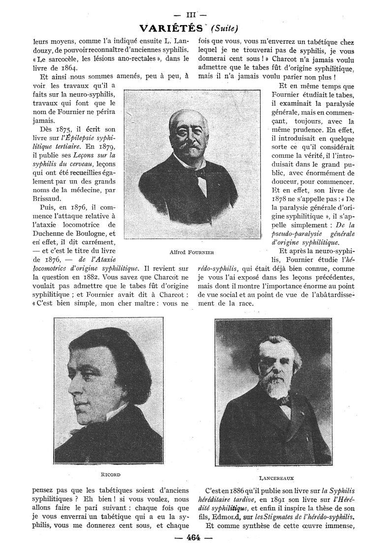 Alfred Fournier / Ricord / Lancereaux - Paris médical : la semaine du clinicien -  - med111502x1932x84x0583