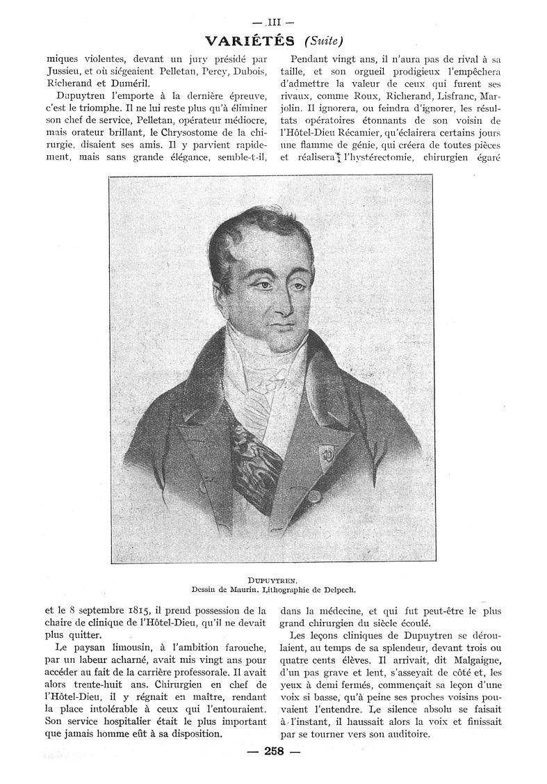 Dupuytren. Dessin de Maurin. Lithographie de Delpech - Paris médical : la semaine du clinicien -  - med111502x1935x96x0401