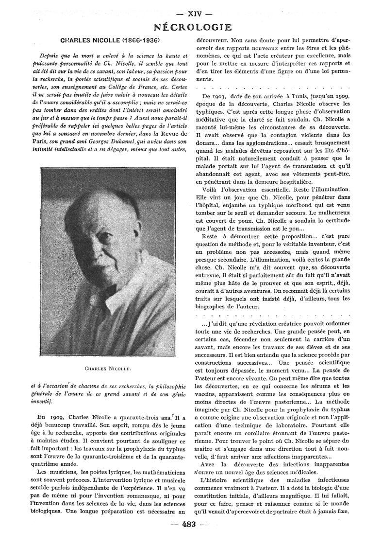 Charles Nicolle - Paris médical : la semaine du clinicien -  - med111502x1936x100x0715