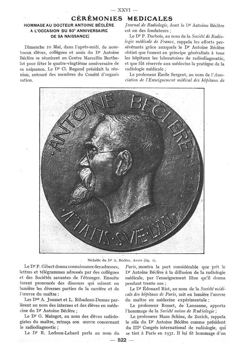 Fig. 1. - Médaille du Dr A. Béclère. Avers - Paris médical : la semaine du clinicien -  - med111502x1936x100x0763
