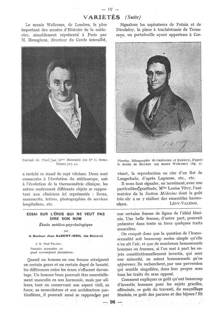 Fig. 4. - Portrait de Pinel, par Mme Mérimée (au Dr G. Semelaigne) / Fig. 5. - Piorrhy, lithographie [...] -  - med111502x1937x106x0140