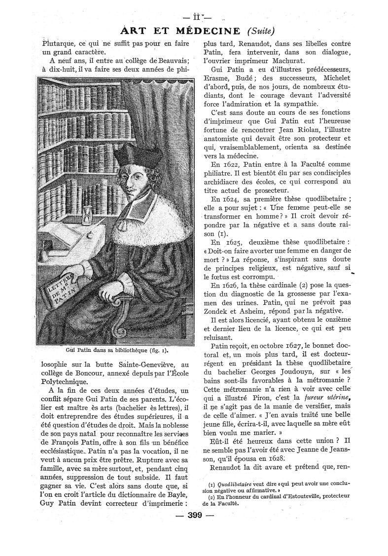Fig. 1. - Gui Patin dans sa bibliothèque - Paris médical : la semaine du clinicien -  - med111502x1937x106x0560