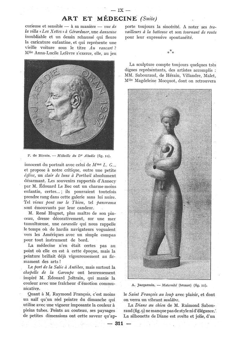 Fig. 10. - F. de Hérain. - Médaille du Dr Abadie / Fig. 11. - A. Jacquemin. - Maternité (bronze) - P [...] -  - med111502x1938x108x0481