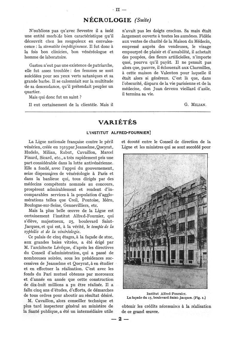 Fig. 1. - Institut Alfred-Fournier. La façade du 25, boulevard Saint-Jacques - Paris médical : la se [...] -  - med111502x1942x124x0014