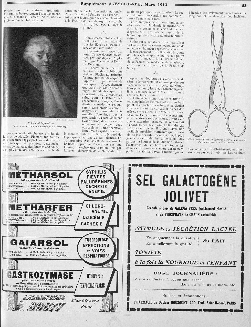 J. -R. Flamant (1762-1833), Professeur de clinique obstétricale à Strasbourg / Pince hémostatique de [...] -  - med111512x1913x0133