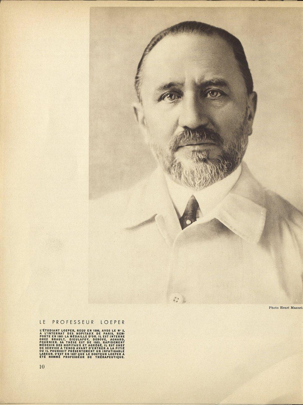 Le Professeur Loeper. L'étudiant Loeper, reçu en 1898, avec le n° 2, à l'internat des hôpitaux de Pa [...] -  - med112580x1932_1933x0372