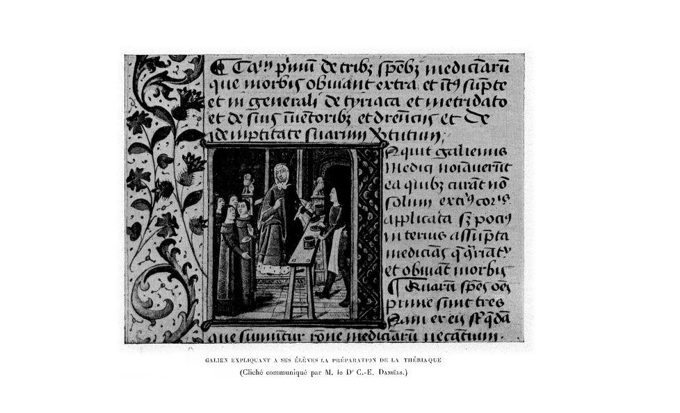Galien expliquant à ses élèves la préparation de la thériaque - La Chronique médicale : revue bi-men [...] - Enluminure. Moyen Age - med130381x1911x18x0775