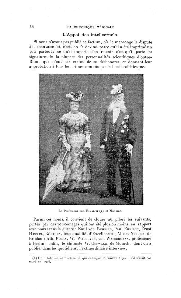Le Professeur von Esmarch, oncle de Guillaume II, et Madame - La Chronique médicale : revue bi-mensu [...] - Noblesse - med130381x1915x22x0048