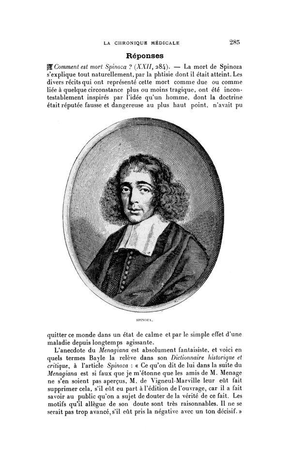 Spinoza - La Chronique médicale : revue bi-mensuelle de médecine historique, littéraire & anecdotiqu [...] -  - med130381x1915x22x0289