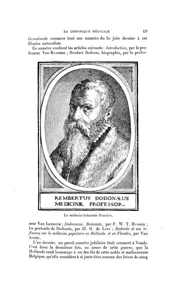 Le médecin-botaniste Dodoens - La Chronique médicale : revue bi-mensuelle de médecine historique, li [...] - Médecins. Botanique - med130381x1918x25x0023