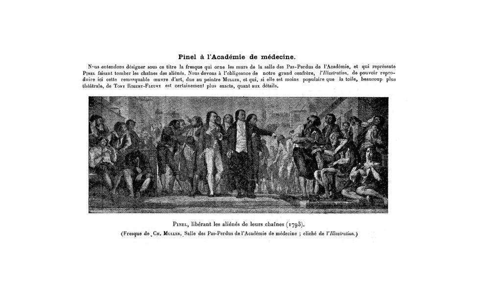 Pinel, libérant les aliénés de leurs chaînes (1793) - La Chronique médicale : revue mensuelle de méd [...] - Médecins. 18e siècle, 19e siècle (France) - med130381x1927x34x0158