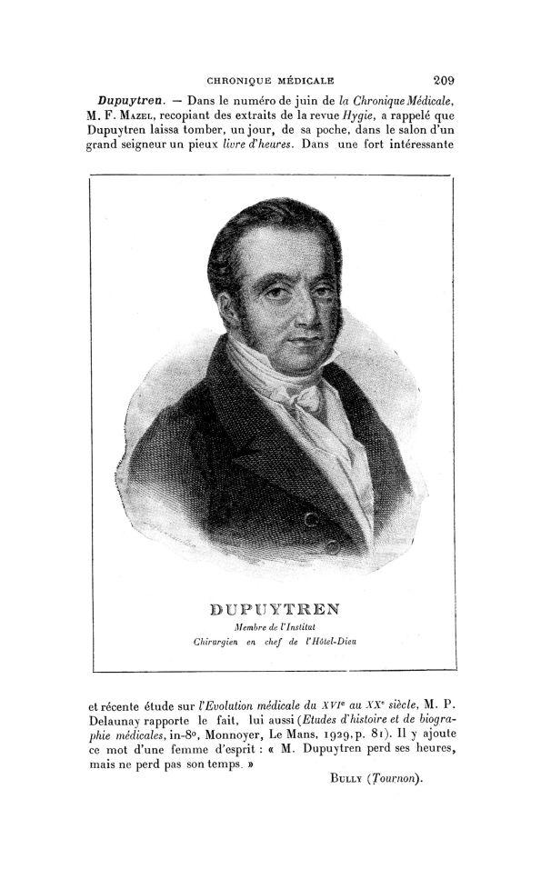 Dupuytren - La Chronique médicale : revue mensuelle de médecine historique, littéraire & anecdotique -  - med130381x1929x36x0185
