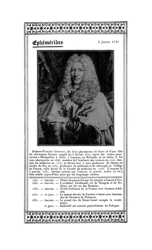 Etienne-François Geoffroy (1672-1731) - La Chronique médicale : revue mensuelle de médecine historiq [...] - Médecins. Pharmacie, chimie. Ornements typographiques. 17e siècle, 18e siècle (France) - med130381x1931x38x0016