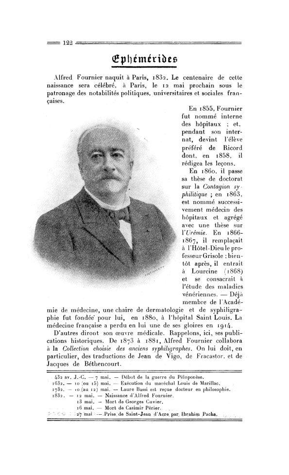 Alfred Fournier (1832-1914) - La Chronique médicale : revue mensuelle de médecine historique, littér [...] - Médecins. 29e siècle, 20e siècle - med130381x1932x39x0132