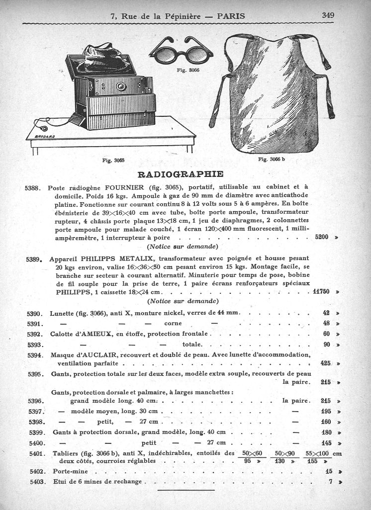 Poste radiogène Fournier, portatif, appareil Philipps Metalix, lunette [...] tabliers, anti X - Cata [...] -  - med140553x0349