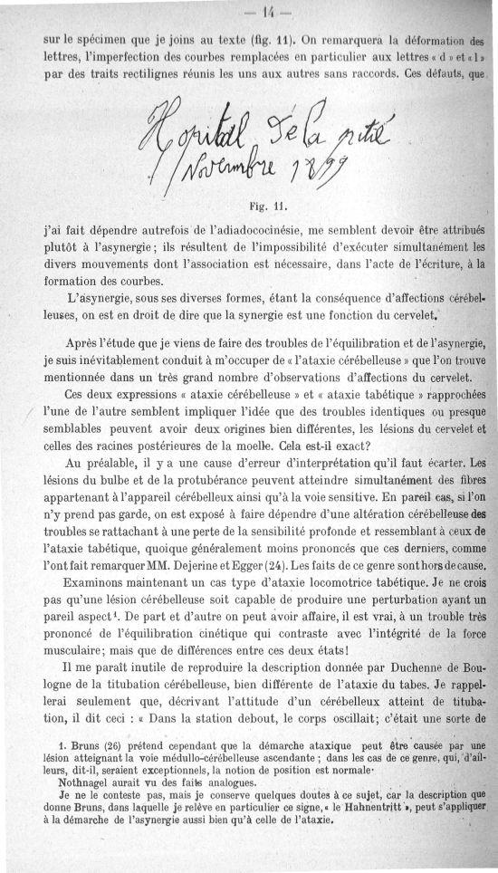 Fig. 11. [Spécimen d'écriture d'une personne atteinte de troubles cérébelleux] - Quelques documents  [...] -  - med156766x018x0016