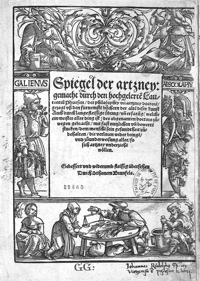 Galienus / Aescolapiu - Spiegel der Artzney - Médecins. Balances. Mythologie. Antiquité, humanisme et Renaissance. 16e siècle (France, Allemagne, Grèce, Rome) - med22860x0001